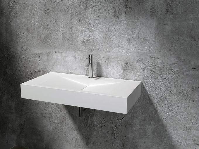 Simple Artificial Stone Wall Hung Basin Organic Shape 900*480*150mm