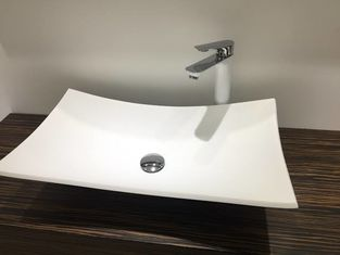 Rectangular Counter Top Basin For Public Easy Clean Shampoo Sinks