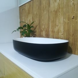 Europe Modern Oval Wash Basin Artificial Stone Bathroom Sink / Counter Top Wash Basin