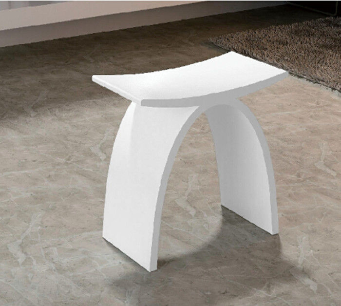 White Artificial Stone Shower Bench Small Size Durable Eco Friendly