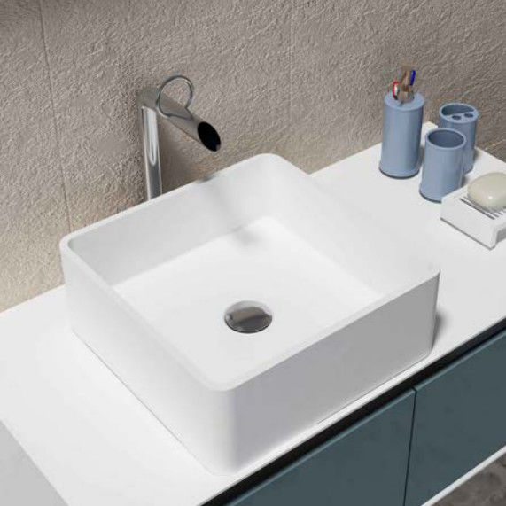 White Square Counter Top Wash Hand Basin Artificial Stone Bathroom Sink