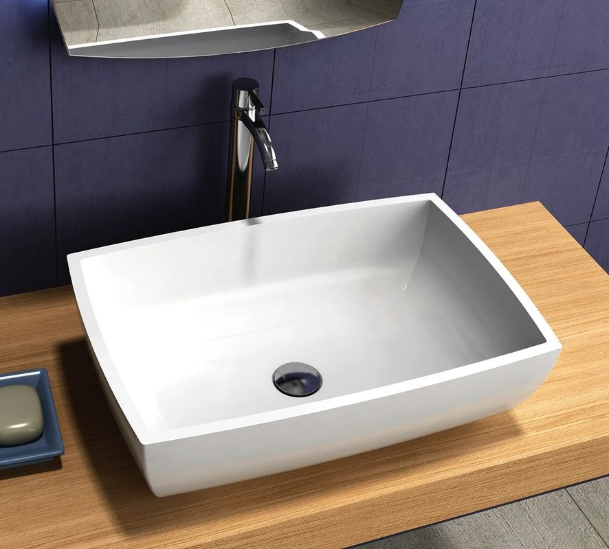 Boat Shape Counter Top Basin Solid Surface Non Porous Seamless Joint