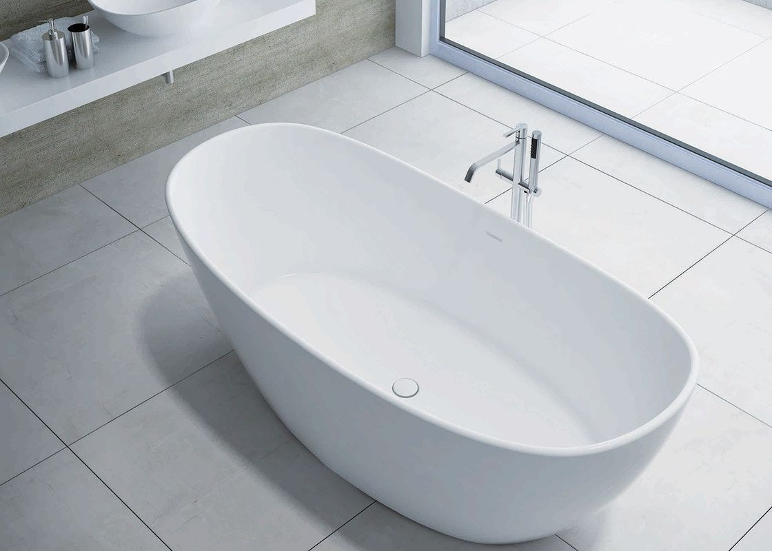 Chemical Resistance Freestanding Soaking Bathtub  Including Drainer