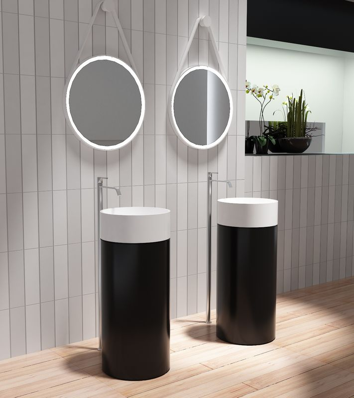 Round Freestanding Pedestal Basin Matt Or Glossy Surface Finished