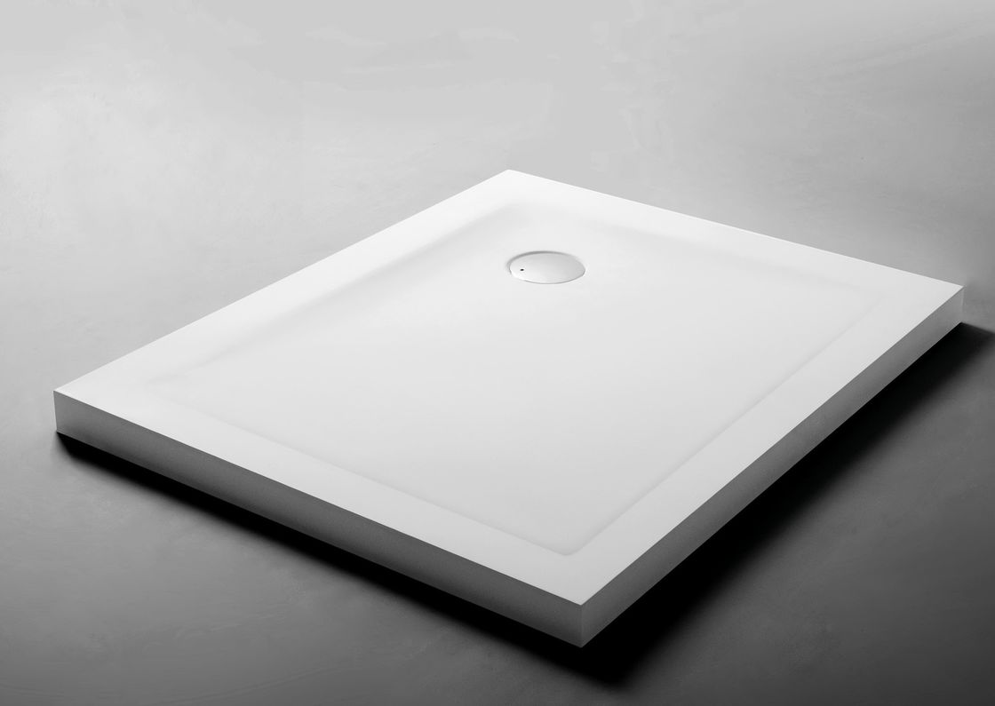 White Artificial Solid Surface Shower Base Chemical Resistant