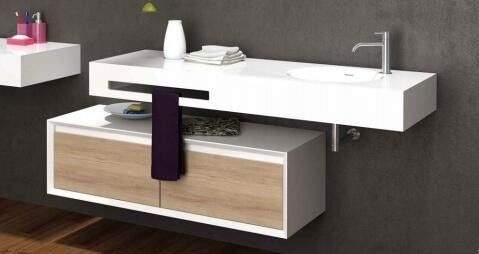 Durable Single Sink Bathroom Vanity Anti Yellowing Stain Resistant