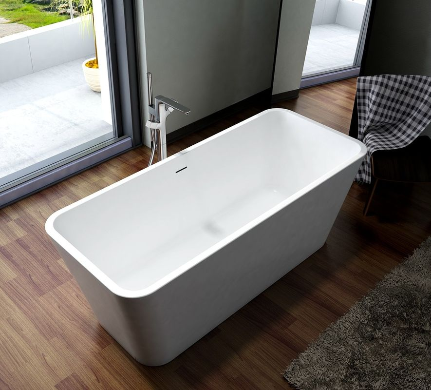 Solid Surface Freestanding Soaking Bathtub Smooth High Gloss