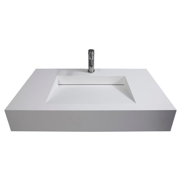 Bathroom Funiture Wall Mounted Wash Basin Sleek Design Single Hole supplier