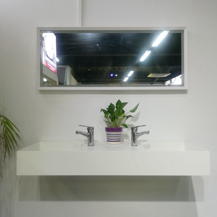 Empty Wall Hung Long Wash Basin Acrylic Resin Stone Sink Custom Made supplier